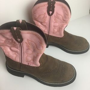 Justin Gypsy Cowgirl collection pink leather boots